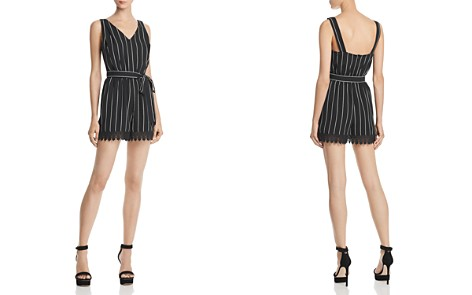 AQUA Lace-Trim Striped Romper - 100% Exclusive - Bloomingdale's_2