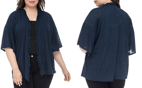 B Collection by Bobeau Curvy Marianne Ruffled Open-Front Cardigan - Bloomingdale's_2