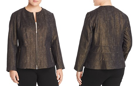 Lafayette 148 New York Plus Courtney Metallic Zip Jacket - Bloomingdale's_2