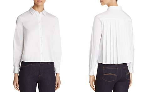 Emporio Armani Pleated Cropped Button-Down Shirt - Bloomingdale's_2