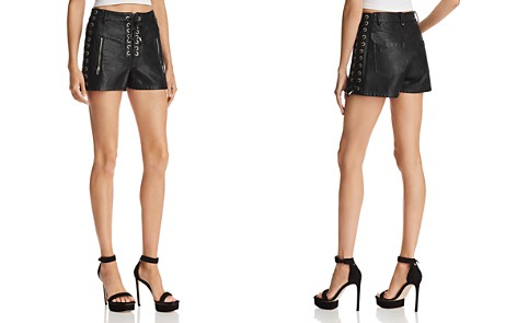 BLANKNYC Lace-Up Faux Leather Shorts - Bloomingdale's_2