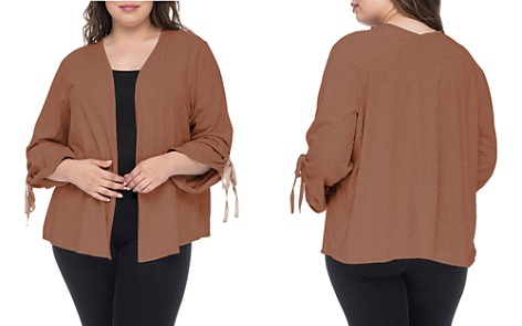 B Collection by Bobeau Curvy Nia Gathered-Sleeve Cardigan - Bloomingdale's_2