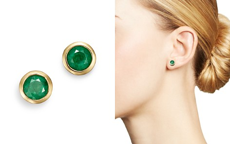 Bloomingdale's Emerald Bezel Stud Earrings in 14K Yellow Gold - 100% Exclusive _2