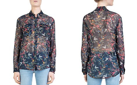 The Kooples Blue Bird Avian & Floral Print Silk Shirt - Bloomingdale's_2