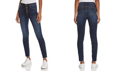 AQUA Button Fly Skinny Jeans in Dark Wash - 100% Exclusive - Bloomingdale's_2