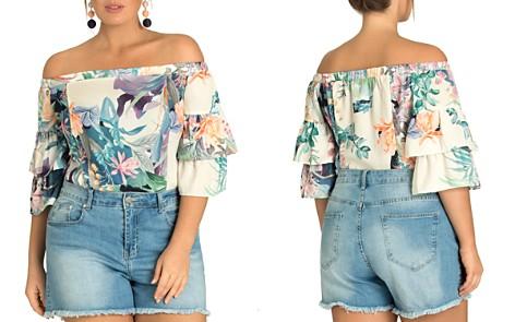 City Chic Plus Frayed Denim Shorts - Bloomingdale's_2