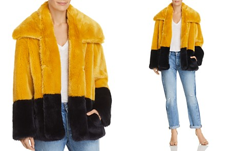 FRENCH CONNECTION Sebille Color-Blocked Faux-Fur Jacket - Bloomingdale's_2
