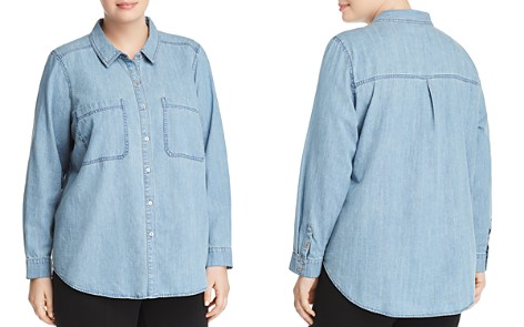 Eileen Fisher Plus Chambray Button-Down Top - Bloomingdale's_2