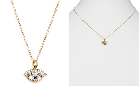 """Bloomingdale's Diamond & Sapphire Evil Eye Pendant Necklace in 14K Yellow Gold, 18"""" - 100% Exclusive_2"""