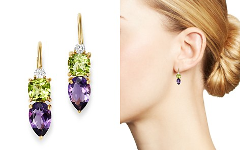 Bloomingdale's Diamond, Amethyst & Peridot Drop Earrings in 14K Yellow Gold - 100% Exclusive_2