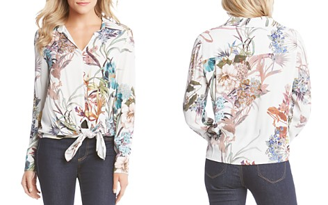 Karen Kane Tie-Front Floral Print Blouse - Bloomingdale's_2