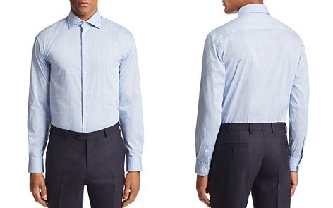 Emporio Armani Grid-Print Tailored Fit Shirt - Bloomingdale's_2