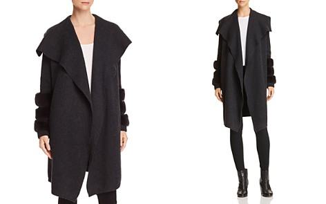 C by Bloomingdale's Rabbit Fur-Trim Cashmere Sweater Coat - 100% Exclusive _2
