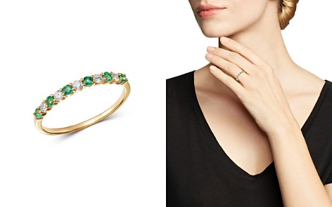 Bloomingdale's Emerald & Diamond Stacking Band Ring in 14K Yellow Gold - 100% Exclusive_2