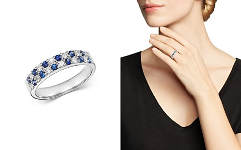 Bloomingdale's Diamond & Sapphire Band Ring in 14K White Gold - 100% Exclusive_2