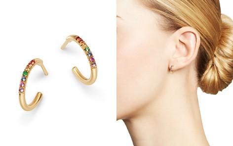 Zoë Chicco 14K Yellow Gold Rainbow Sapphire Huggie Hoop Earrings - Bloomingdale's_2