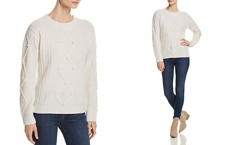 C by Bloomingdale's Embellished Aran-Knit Cashmere Sweater - 100% Exclusive_2