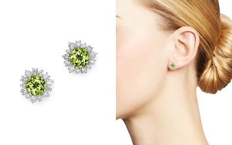 Bloomingdale's Peridot & Diamond Halo Stud Earrings in 14K White Gold - 100% Exclusive_2