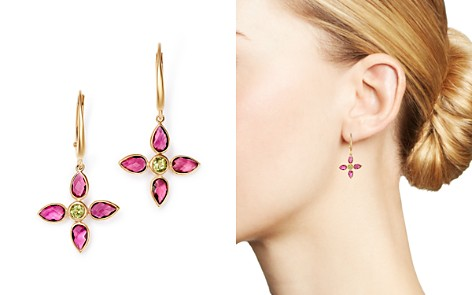 Olivia B 14K Yellow Gold Pink Tourmaline & Peridot Flower Drop Earrings - 100% Exclusive - Bloomingdale's_2