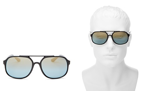 Ray-Ban Men's Chromance Polarized Brow Bar Square Sunglasses, 57mm - Bloomingdale's_2