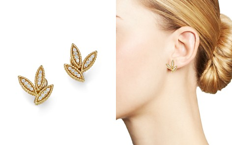 Roberto Coin 18K Yellow Gold Diamond Petals Diamond Earrings - Bloomingdale's_2