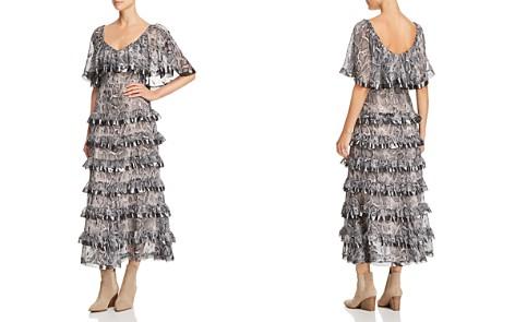 Rebecca Taylor Snake-Print Ruffle-Trim Midi Dress - Bloomingdale's_2