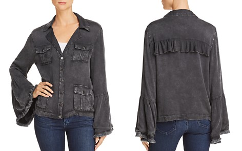 CHASER Frayed Bell Sleeve Jacket - Bloomingdale's_2