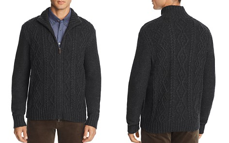 The Men's Store at Bloomingdale's Cable-Knit Zip Sweater -100% Exclusive _2