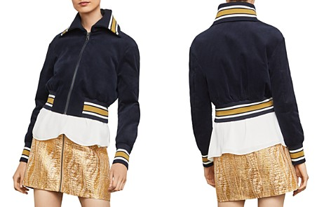 BCBGMAXAZRIA Cropped Corduroy Varsity Jacket - 100% Exclusive - Bloomingdale's_2