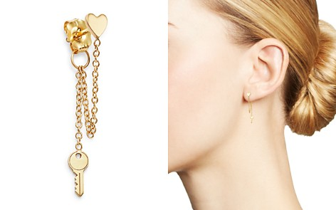 Zoë Chicco 14K Yellow Gold Itty Bitty Heart & Key Drop Single Stud Earring - Bloomingdale's_2