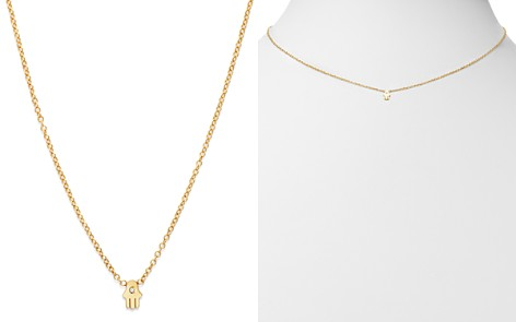 "Zoë Chicco 14K Yellow Gold Itty Bitty Hamsa Diamond Necklace, 16"" - Bloomingdale's_2"