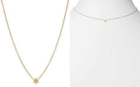 "Zoë Chicco 14K Yellow Gold Itty Bitty Star of David Necklace, 16"" - Bloomingdale's_2"