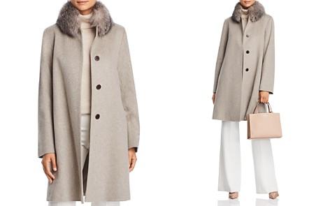 Maximilian Furs Fleurette Fox Fur Collar Wool Coat - Bloomingdale's_2
