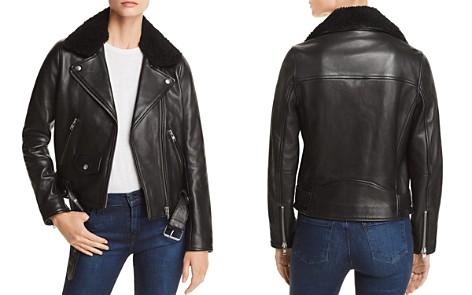 Nobody Shearling-Trimmed Leather Biker Jacket - Bloomingdale's_2