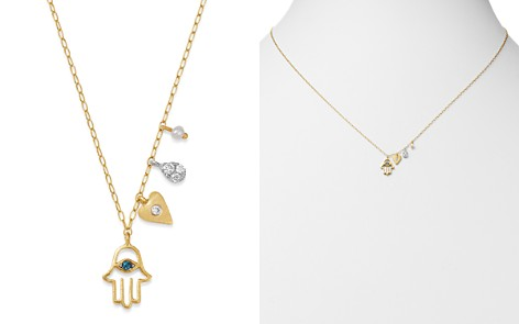 """Meira T 14K Yellow Gold & 14K White Gold Diamond & Freshwater Seed Pearl Hamsa & Heart Charm Adjustable Pendant Necklace, 18"""" - Bloomingdale's_2"""