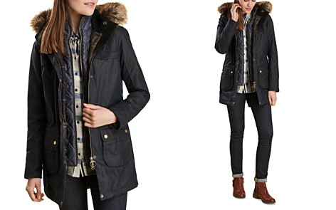 Barbour Dartford Faux Fur Trim Waxed Parka - Bloomingdale's_2