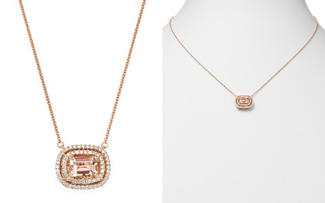 "Bloomingdale's Morganite & Diamond Double Halo Pendant Necklace in 14K Rose Gold, 18"" - 100% Exclusive_2"