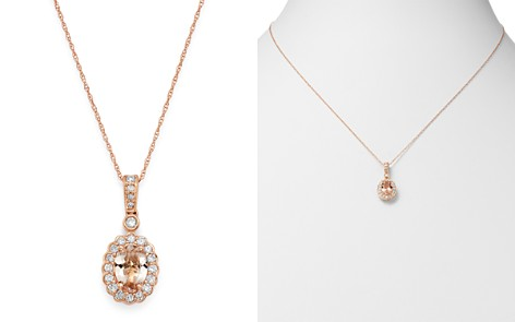 "Bloomingdale's Morganite & Diamond Delicate Pendant Necklace in 14K Rose Gold, 18"" - 100% Exclusive_2"