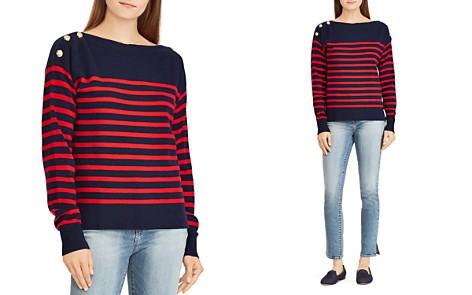 Lauren Ralph Lauren Striped Cashmere Button-Shoulder Sweater - 100% Exclusive - Bloomingdale's_2