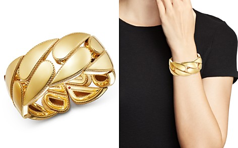 Roberto Coin 18K Yellow Gold Gourmette Cuff Bangle - Bloomingdale's_2
