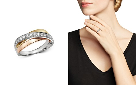 Bloomingdale's Diamond Three Tone Crossover Band in 14K White Gold, 14K Rose Gold & 14K Yellow Gold, 0.45 ct. t.w. - 100% Exclusive_2