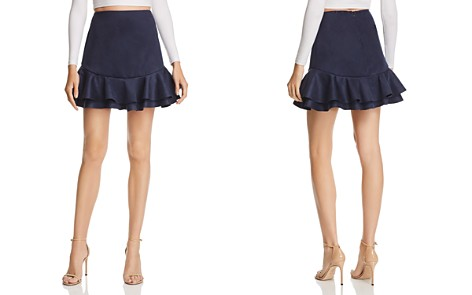 AQUA Ruffled Faux Suede Skirt - 100% Exclusive - Bloomingdale's_2