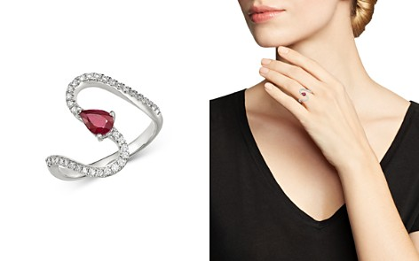 Bloomingdale's Ruby & Diamond Swirl Ring in 14K White Gold - 100% Exclusive_2