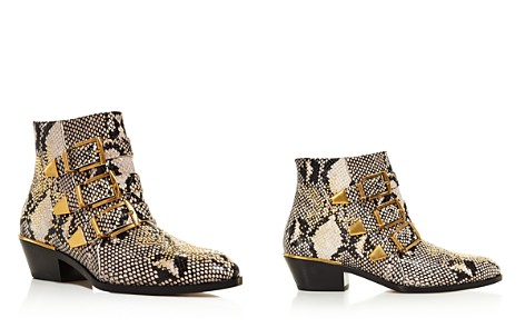 Chloé Women's Pointed Toe Snakeskin-Embossed Leather Booties - Bloomingdale's_2
