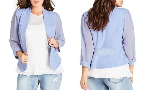 City Chic Plus Sheer-Sleeve Blazer - Bloomingdale's_2