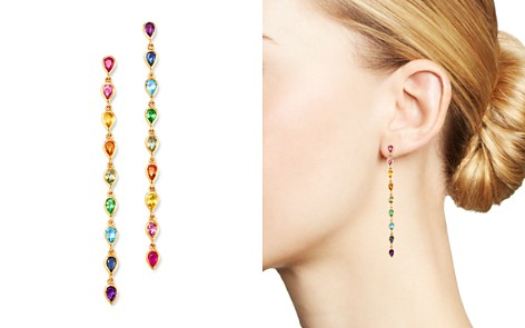 SheBee 14K Yellow Gold Rainbow Sapphire, Blue Topaz, Tsavorite & Amethyst Drop Earrings - Bloomingdale's_2
