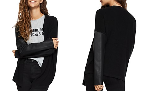 BCBGeneration Faux Leather-Sleeve Cardigan - Bloomingdale's_2