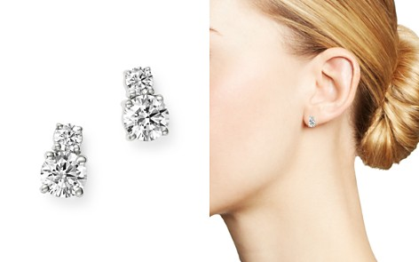 Bloomingdale's Diamond Two Stone Stud Earrings in 14K White Gold, 1.0 ct. t.w. - 100% Exclusive_2