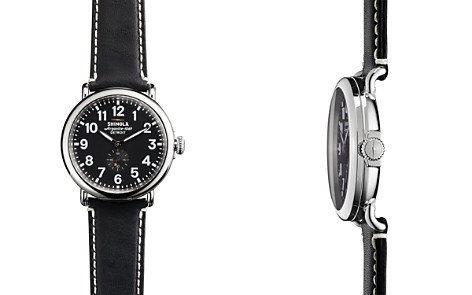 Shinola The Runwell Black Dial Leather Strap Watch, 41mm - Bloomingdale's_2