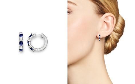Blue Sapphire and Diamond Hoop Earrings in 14K White Gold - 100% Exclusive - Bloomingdale's_2